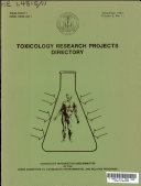 Toxicology Research Projects Directory Book