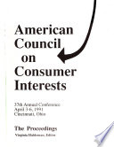 Proceedings ... Annual Conference of the American Council on Consumer Interests