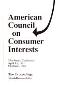 Proceedings     Annual Conference of the American Council on Consumer Interests