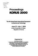 Proceedings  KORUS 2000 Book