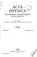 Acta Physica Academiae Scientiarum Hungaricae