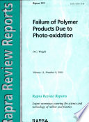 Failure of Polymer Products Due to Photo oxidation Book
