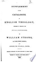 Supplement To The Catalogue Of English Theology Published In February 1829 Now On Sale At The Low Prices Affixed