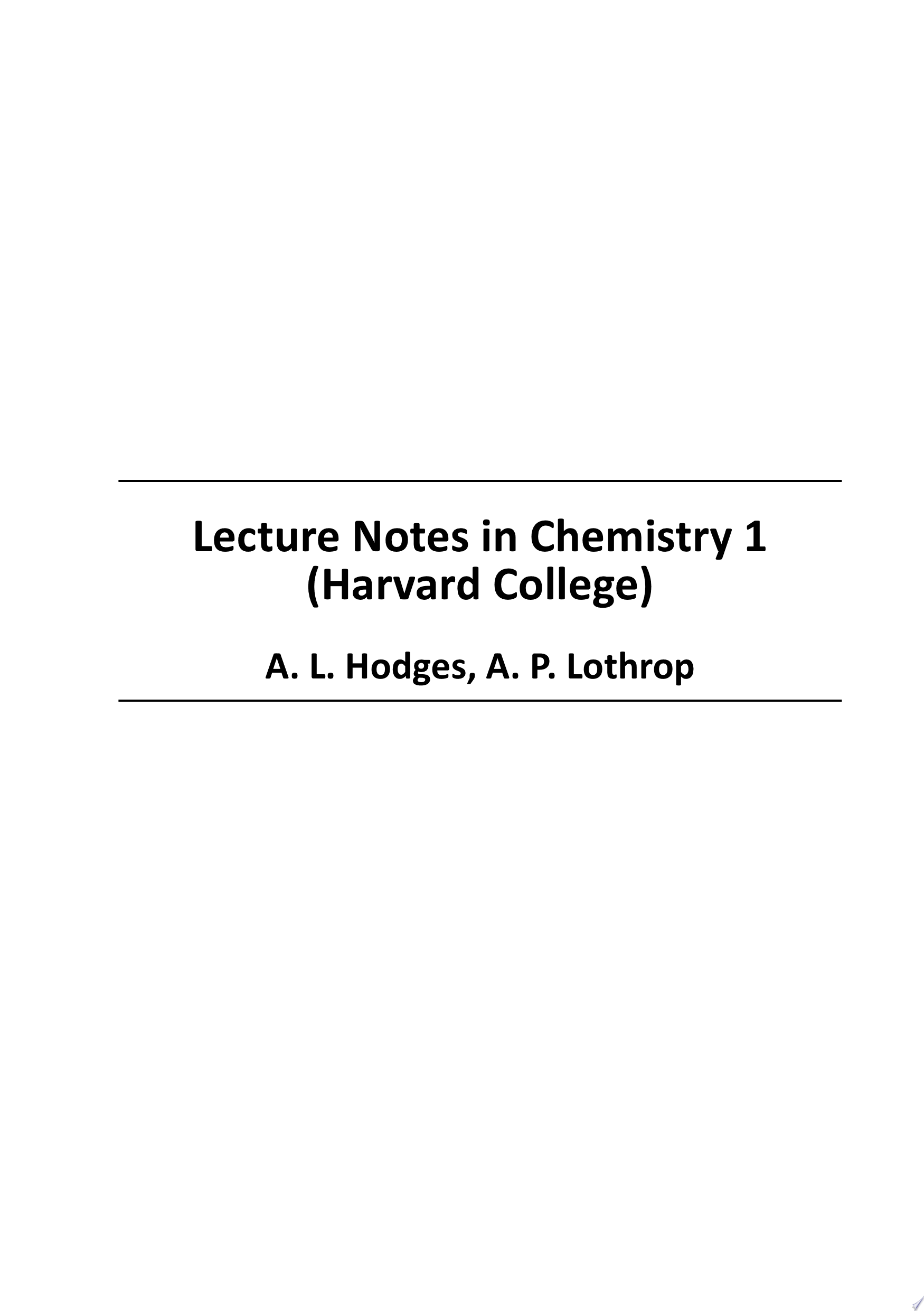 Lecture Notes in Chemistry 1  Harvard College