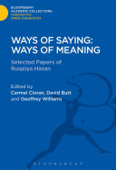 Ways of Saying: Ways of Meaning
