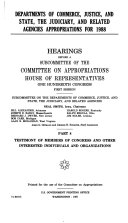 Departments of Commerce  Justice  and State  the Judiciary  and related agencies appropriations for 1988