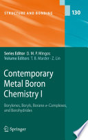 Contemporary Metal Boron Chemistry I Book