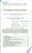 Energy Research  Development  Demonstration  and Commercial Application Act of 2006 Book