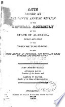 Acts Of The General Assembly Of Alabama Passed At The Session Of