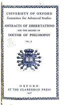 Abstracts of Dissertations for the Degree of Doctor of Philosophy