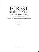 Forest Wildlife habitat Relationships Book