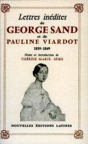 Lettres inédites de George Sand et de Pauline Viardot (1839-1849)