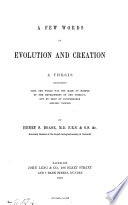 A Few Words on Evolution and Creation Book