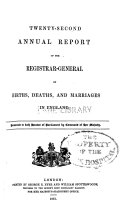 Annual report of the registrar general of births  deaths  and marriages in England  v  22 23  1859 60