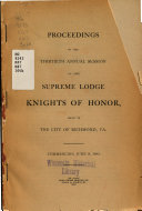 Proceedings Of The Annual Session Of The Supreme Lodge Knights Of Honor