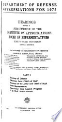 Department of Defense Appropriations for 1975 Book PDF