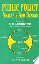 Public Policy Analysis and Design
