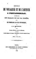 Guide Du Voyageur Et de L'artiste À Fontainebleau