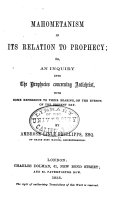 Mahometanism in Its Relation to Prophecy ebook