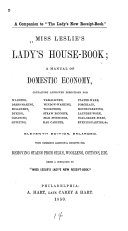 Miss Leslie s Lady s House book