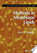 Methods in Membrane Lipids Book