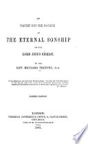An Inquiry Into the Doctrine of the Eternal Sonship of Our Lord Jesus Christ Book