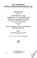 First Supplemental Surplus Appropriation Recission Bill  1946  Departments and civil agencies