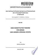 Eine konstitutive Theorie für Böden und andere körnige Stoffe