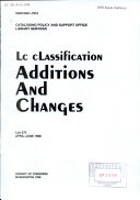 LC Classification  Additions and Changes
