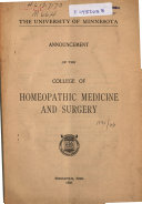 Catalogue and Announcement of the College of Homeopathic Medicine and Surgery