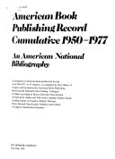 American Book Publishing Record Cumulative  1950 1977 Book PDF
