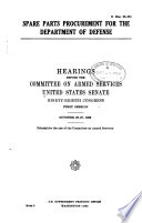 Spare Parts Procurement for the Department of Defense Book PDF