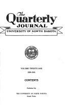 The Quarterly Journal   University of North Dakota Book