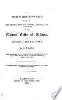 A short statement of facts relating to the history, manners ... of the Micmac tribe of Indians in Nova Scotia and P. E. Island