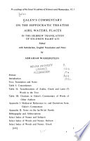 Galen's Commentary on the Hippocratic Treatise, Airs, Waters, Places