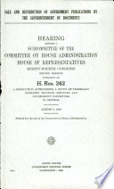 Sale And Distribution Of Government Publications By The Superintendent Of Documents