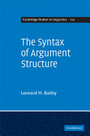 The Syntax of Argument Structure