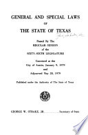 General and Special Laws of the State of Texas