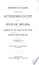 Reports of Cases Determined by the Supreme Court of the State of Nevada