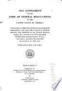 Supplement To The Code Of Federal Regulations Of The United States Of America