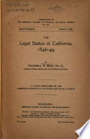 The Legal Status of California, 1846-49