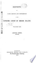 Reports of Cases Heard and Determined in the Supreme Court of Rhode Island Book