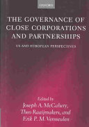 The Governance of Close Corporations and Partnerships: US and ...