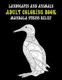 Adult Coloring Book Landscapes and Animals   Mandala Stress Relief