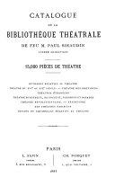 Catalogue de bibliothèques théatrales