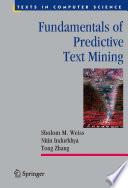 Fundamentals of Predictive Text Mining Book