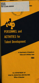 TDP Personnel and Activities for Talent Development   in Departments of Education in States and in Outlying Areas 1964
