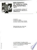 Bibliography of Agricultural Bibliographies