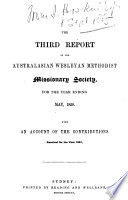 The Report Of The Australasian Wesleyan Methodist Missionary Society For The Year Ending With An Account Of The Contributions Received For The Year