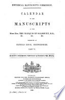 Calendar of the Manuscripts of the Most Honourable the Marquess of Salisbury     Book PDF